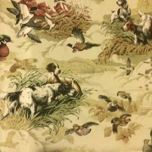 Vintage Dog Linen weave fabric
